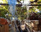 Medusa, jellyfish sculpture, green, blue, recycled plastic, water bottle, suncatcher, upcycled, tentacles, garden art, sea, Lesvos, Greece