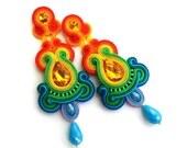 Soutache earrings - red carpet earrings - wholesale jewelry - Statement earrings - Gift for mom - rainbow earrings - birthday gift for wife
