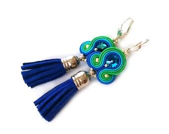 Tassel earrings - tassel jewelry - Soutache earrings - Christmas gift for girlfriend - Gift for daughter - Gift for sister- Swarovski bijoux