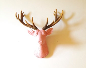 BABY Lite PINK Natural SMALL Faux Taxidermy Deer Head wall mount wall hanging / faux animal head / stag / pastel pink / nursery office kids