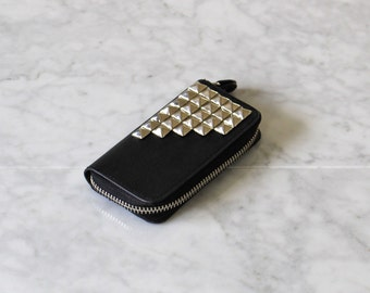 Silver Studded | Card + Coin Zip Wallet | Black Faux Leather