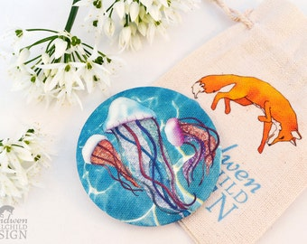 Jellyfish Fabric Pocket Mirror, Cosmetic Mirror, Makeup Mirror, Gifts for Women, Fabric Covered Mirror