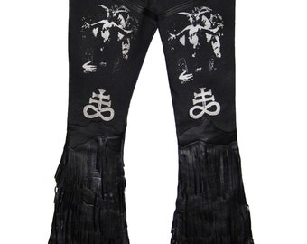 "Laura Diamond "" Baphomet fringed jeans"""