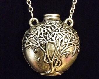 Silver tree of life jug vessel vase pendant necklace
