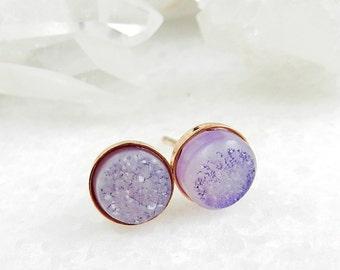 druzy earrings, druzy studs, stud earrings, rose gold, lavender earrings, crystal, druzy stud earrings, dainty, minimal