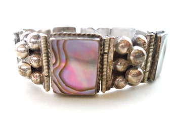 Sterling Silver and Abalone Shell Panel Bracelet Mexican Silver Jewelry Iguala Mexico Arts and Crafts Style 1940s 1950s Sterling Jewelry