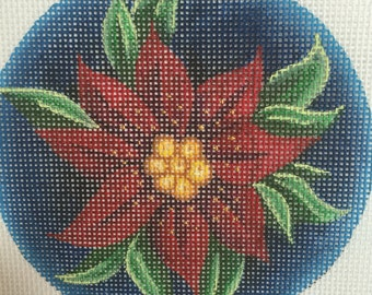 "Hand Painted Needlepoint canvas Red Poinsettias 4"" Ornament"