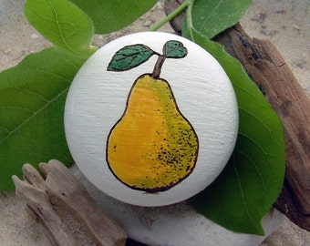 Furniture knob bulb engraving hand-painted oak - furniture knob - pear