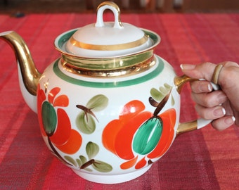Vintage red cherry blossom white porcelain hand painted large tea pot gold details, WorldWide Express Shipping, Gift for couples