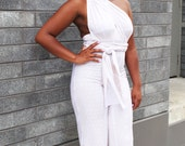 THE AALIYAH Infinity Stretch Jumpsuit in Cream and White