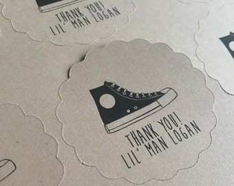CUSTOM Kraft Scalloped circle Labels - Converse Party - Chucks - Personalize - Baby Shower Birthday - Recycled - Eco Friendly - Thank You