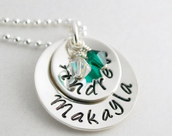 Stacked Silver Name Necklace for Mom Stacked Silver Mother Jewelry Two Names Hand Stamped - Hand Stamped Necklace with Two Kids Names