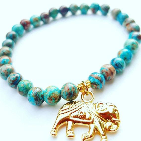 Bead Bracelet, Charm bracelet, Ladies Jewelry, Elephant bracelet, stretch bracelet, Gold Charm, Blue bracelet, womens bracelet, Elephants