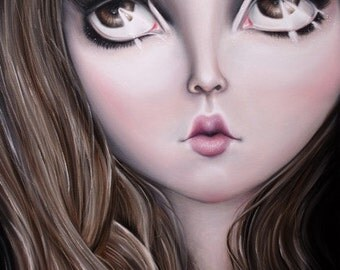 Doll Face - LIMITED EDITION signed numbered print lowbrow art, Lolita, big eyes, doll, dolly