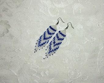 Long Beaded Fringe Earrings. Icy Blue Earrings. Long Beaded Earrings. Hand Beaded Earrings. Frozen Earrings. Winter Beaded Earrings.