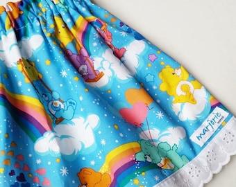 Blue CareBears 80s Girls' Rainbow Skirt size 1,2,3,4,5
