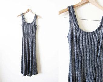 1970s Dress / Disco Clothing / Ribbed Maxi Dress / Metallic Silver Black Dress