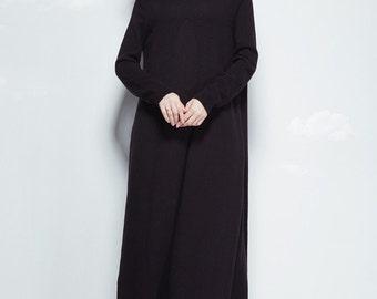 Maxi Knit Dress in Black, Black wool dress, long dress, black dress, long sleeve dress, turtle neck dress, evening dress, winter dress