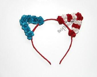 American Flag Cat Ears // 4th of July Cat Ears // Patriotic Cat Ears // Cat Ears // Cat Ears Headband // by Born Tutu Rock