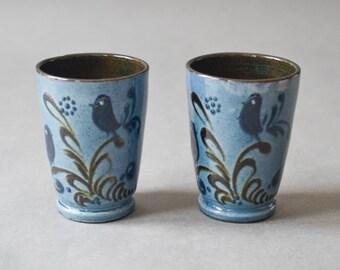 Rustic coffee mugs, tea cups, ceramic mugs, pottery mugs blue birds Ref: 239