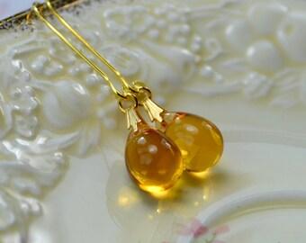 Yellow Glass Earrings, Tear Drop Earrings, Yellow Jewelry, Golden Earrings, Dangle Earrings, Best Selling Items, Gift for Women, UK sellers