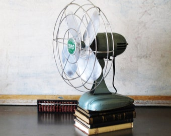 Vintage electric fan, desk fan, Zero fan, mid century fan, industrial decor