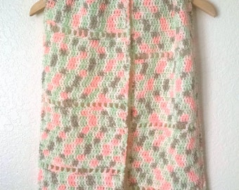 Crochet Scarf Pastel Peach, Green and White