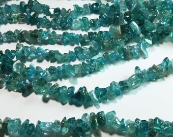 Teal Blue Apatite Nugget Chip Beads 5mm - 13mm
