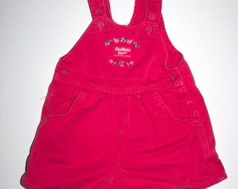 RETRO OSH KOSH - Little Girls Hot Pink Overall Shorts - Hip Girls Outfit 3T