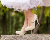 Wedding Shoes - Beige Bridal Heels, Bridal Shoes, Mary Jane, Wedding Heels, Beige High Heels, Bridesmaid Gift with Ivory Lace. US Size 10