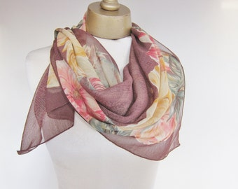 Floral semi sheer scarf, large square scarf, Italian scarves, Aris Isotoner, hair scarves, vintage scarves