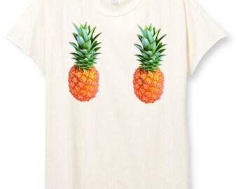 Womens Boho PINEAPPLE Boob Shirt Trendy Tumblr Shirt Tee Top Bohemian Vintage Retro Cotton Fashion Short Sleeve Tshirt S M L XL
