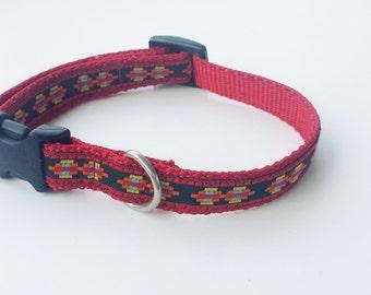 "3/4"" Adjustable Dog Collar, Buckle Collar, Aztec Pattern"