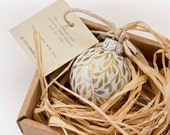 Mini White and Gold Leaf Hand Painted Ornament