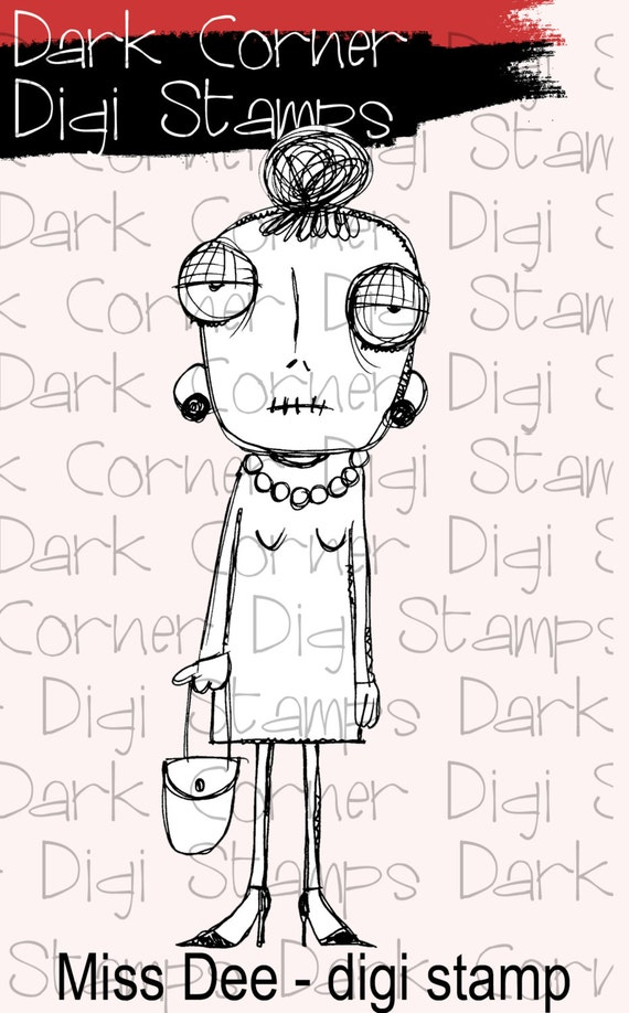 Miss Dee - quirky creepy lady digi stamp available for instant download