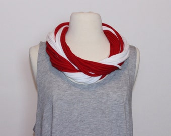 Delta Sigma Theta Sorority Inspired T-Shirt Scarf - Red and White