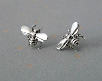 Bee Earrings - Animal Earrings - Bee Stud Earrings - Insect Jewelry - Silver Stud Earrings - Silver Dainty Studs - Animal Studs -Bee Jewelry