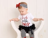 Baby Girl Clothes Black Red Glitter I Woke Up Like This Stripe Red Sequin Bow Headband Lips Leg Warmers Baby Girl Outfit Funny Baby Gift