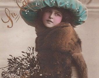 Edwardian Lady With Mistletoe Antique Photo Postcard