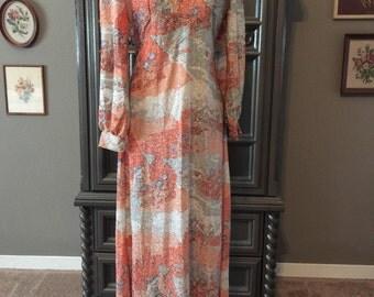 70s Shimmer Print Spilt Sleeve dress
