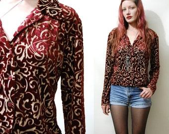 90s Vintage BURNOUT VELVET Shirt Maroon Blouse Button-up Top Crop Cropped Long Sleeved Bohemian Boho Grunge 1990s vtg M
