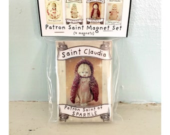 Antique Porcelain Doll Magnets Adventures of Claudia Patron Saint Magnet Set (4)