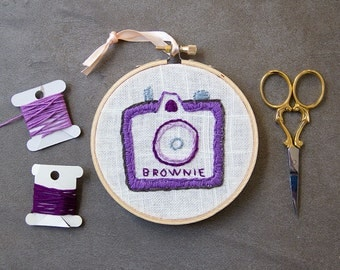 Camera Embroidery, Purple Kodak Brownie Camera, Vintage Camera Embroidery, Hoop Art, Hand-Stitched, Retro Purple Lavender, Camera Decor
