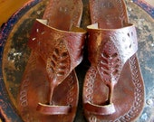 Brown Leather Thong Sandals - Toe Strap - Tooled Leather - Eyelet Design - Rubber Soles - Beach - Hippie
