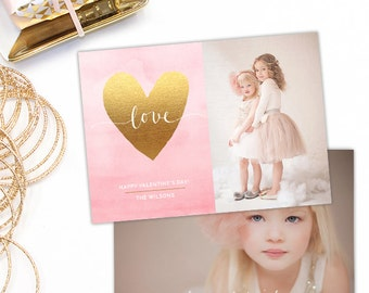 Valentine's Day Card Template, Valentine's Day Card for Photoshop, Holiday Card Templates, Photography Templates VD120