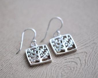 Tree Earrings - Sterling Silver Tree Earrings - Woodland Jewelry - Gift For Women - Nature Jewelry
