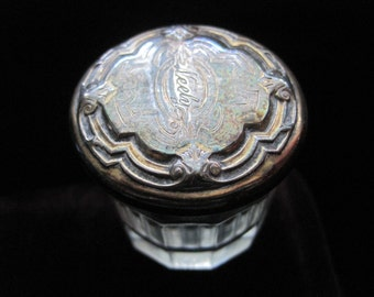 Vintage Glass Jar Sterling Lid 925 Art Deco Trinket Box Lidded Powder Jar Vanity Antique Neely