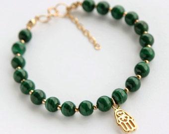 Gold Malachite Bracelet, Gold Hamsa Bracelet, Malachite Bead Bracelet