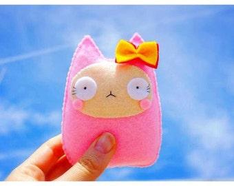 Baby pink cat plush doll