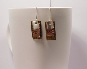 3 Layer Rectangular Stamped Brass & Copper Earring Pair with Sterling Accent